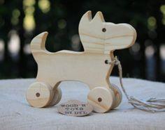 Vintage Wooden Dog Figurine Toy