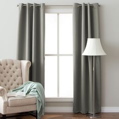 Arlo Blinds Insulated Grommet Top 64-inch Blackout Curtain Panel Pair (Grey, brushed nickel grommet), Size 52 x 64 (Polyester, Solid)