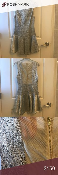 Alice + Olivia dress Alice + Olivia Dress with gold mesh zippered back. Worn once for a special occasion. Like new condition. Beautiful dress, pictures really don't do it justice Alice + Olivia Dresses Mini