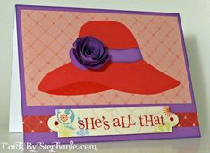 Red Hat Lady Card (flower made with the Art Philosophy Cricut cartridge) Red Hat Club, Fun Crafts, Paper Crafts, Red Hat Ladies, Red Hat Society, Red Hats, Heart Art, Girl With Hat, Close To My Heart