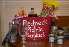 Red Neck Picnic Basket  --- omg this is perfect for my brother. He would love this n laugh