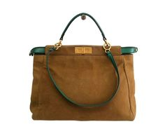 #FENDI Peekaboo Hand bag Nubuck/Leather Brown/Green 8BV210 (BF104943): #eLADY global accepts returns within 14 days, no matter what the reason! For more pre-owned luxury brand items, visit http://global.elady.com