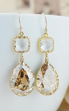 Golden Shadow Swarovski Crystal Earrings from EarringsNation Gold Weddings Gold Earrings Bridesmaid Gifts