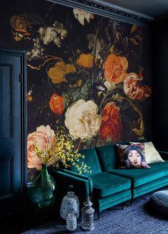 Floral Wallpaper Living Room Decor 17 Ideas For 2019 Living Room Decor Colors, Living Room Green, Boho Living Room, Living Room Paint, Living Rooms, Leather Living Room Furniture, Bedroom Furniture, Colorful Decor, Decoration