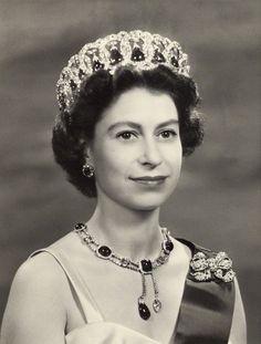 Her Majesty Queen Elizabeth II, 1957, wearing the Grand Duchess Vladimir tiara.....(Beautiful picture of the Queen)