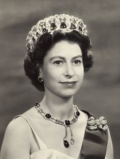 Her Majesty Queen Elizabeth II, 1957, wearing the Grand Duchess Vladimir tiara.....(Beautiful picture of the Queen)