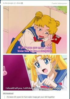 Usagi still can't use a computer lol