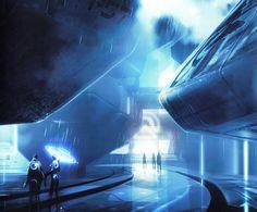 Tron Legacy - Concept art Fantasy City, Sci Fi Fantasy, Futuristic City, Futuristic Architecture, Tron Legacy, Landscape Concept, Alternative Movie Posters, Environment Concept Art, Future City