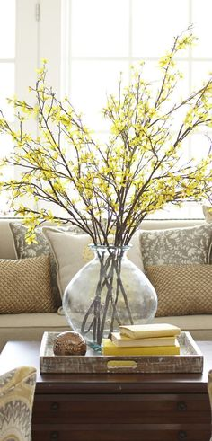 Faux Forsythia Branch | Spring Home Decor |