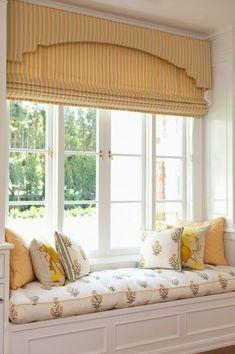 Airy window seat with custom window treatments. Window Seat Curtains, Window Coverings, Window Nooks, Blinds Curtains, Window Seat Cushions, Window Benches, Burlap Curtains, Roman Blinds, Window Wall