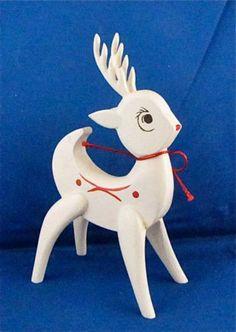 Vintage Mid Century Modern Christmas Reindeer Wood White & Red Denmark?