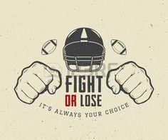 El fútbol americano o la motivación de rugby con timón, los puños y la bola en el estilo vintage. Ilustración vectorial. Foto de archivo - 46551725