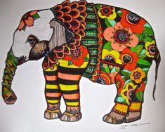 Elephant Drawing Illustration Art  print  Adult coloring pages on Etsy, $20.00