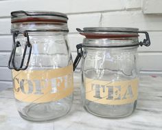 vintage Coffee Tea glass hinged canisters, 1L and 3/4L, retro kitchen storage by MotherMuse on Etsy