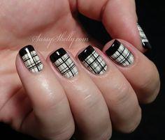 New Perfect Black Stamping Nail Polish Designs - Hairstyles Plaid Nail Designs, Plaid Nail Art, French Tip Nail Designs, Plaid Nails, Nail Polish Designs, Nail Art Designs, Nails Design, Plaid Design, French Nails