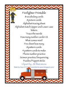 FIREFIGHTER PRINTABLE from Fun Printables for Preschoolers on TeachersNotebook.com -  (20 pages)  - Printable: The activities in this pack are designed to have fun while the child learns a variety of preschool concepts including number, color, patterns, sequence, size, letters and more.