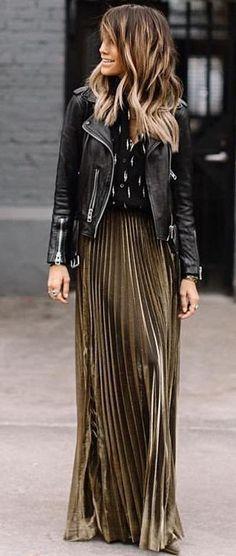 #winter #fashion /  Black Biker Jacket / Green Pleated Maxi Skirt / Printed Blouse