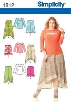 1812 Misses' & Plus Size Skirts and Knit Top    Misses' & Plus Size skirt with length and hem variations and knit top. Simplicity sewing pattern.