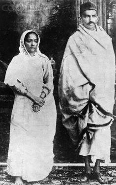 Mahatma Gandhi and his Wife Kasturibai Gandhi, 1922