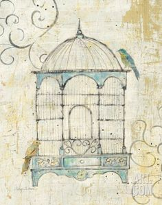 Bird Cage IV Print by Avery Tillmon at Art.com