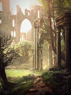 Old Romantic Gothic Ruins by Raphael Lacoste Fantasy Art Landscapes, Fantasy Landscape, Landscape Art, Fantasy Concept Art, Fantasy Artwork, Fantasy Places, Fantasy World, Fantasy Setting, Book Aesthetic