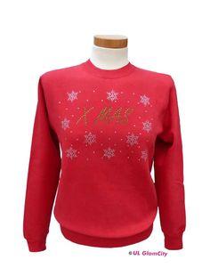 Sweatshirt, rot, Weihnachten, Strass