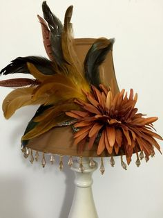 Feathers Flowers and Beads Lampshade by ArtSingsMySoul on Etsy