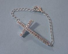 Elegant Crystal Sideways Cross Chain Link Bling by Simply2Charming, $10.00