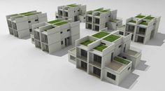 Maquete eletrônica simulando relação de vizinhança. Concurso Habitação para Todos.CDHU.Sobrados - 2º Lugar.<br />Autores do projeto  [equipe premiada]