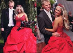 JODIE MARSH - This was certainly a bold choice for body builder Jodie Marsh. The crimson red color and ruffled skirt makes one think more of prom night than wedding march however.
