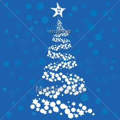 Abstract Christmas Tree On Blue Background Stock Photo