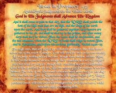 Israel in Prophecy - God in His Judgments shall Advance His Kingdom