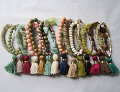 Items similar to Semi-Precious Stretch Handmade Tassel Bracelets on Etsy Tassel Bracelet, Tassel Jewelry, Beaded Jewelry, Jewelry Bracelets, Stackable Bracelets, Handmade Bracelets, Handmade Jewelry, Diy Collier, Jewelry Accessories