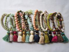 Items similar to Semi-Precious Stretch Handmade Tassel Bracelets on Etsy Tassel Bracelet, Tassel Jewelry, Beaded Jewelry, Jewelry Bracelets, Stackable Bracelets, Jewellery, Handmade Bracelets, Handmade Jewelry, Diy Collier