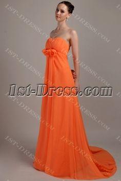 Orange Pregnant Plus Size Empire Prom Dress Maternity Prom Dresses, Body Shapes, Pageant, Wedding Venues, Empire, Chiffon, Bridesmaid, Glamour, Plus Size