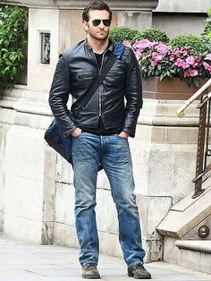 Bradley Cooper looks oh-so-cool in his leather jacket while filming at The Langham Hotel in London on Wednesday. Irina Shayk, Brad Cooper, Jennifer Esposito, Look Fashion, Mens Fashion, Designer Leather Jackets, Hottest Male Celebrities, Celebs, Hollywood Actor