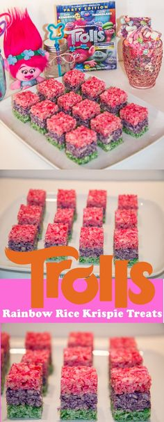 TROLLS Rice Krispie Treats | Rainbow Rice Krispie Treats | http://www.tiarastantrums.com/reviews/dreamworks-trolls-family-move-night-ideas #TROLLS #RiceKrispie #RiceKrispieTreats