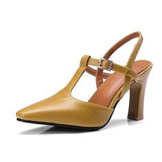 d63eb74ec39037 OALEEN Escarpins Salomé Femme Talon Haut Bride Arrière Strass Chaussures  Sandales Soirée Jaune 40
