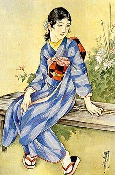 Japan antique illustration. illustrator / Kasyou Takabatake.   kimono beauty lady. last years of the taisyou period / early Showa period.