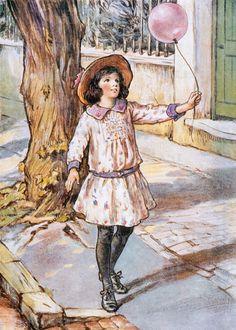Vintage 1923 Cicely Mary Barker book illustration, via Etsy Balloon fun Magazine Illustration, Fantasy Illustration, Children's Book Illustration, Vintage Children's Books, Vintage Art, Girl Holding Balloons, Cicely Mary Barker, Pink Balloons, Flower Fairies