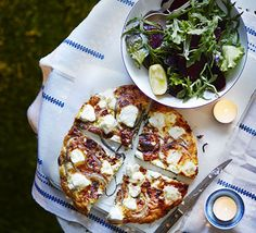Goat's cheese & caramelised onion frittata with a lemony green salad. A grilled omelette with sweet onion base, dotted with creamy cheese and served with salad - this recipes make enough for lunch the next day