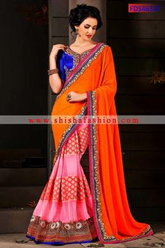 UNIQUE DEEP ORANGE & DEEP PINK COLOR FAUX GEORGETTE & SOFT NET HALF & HALF SAREE