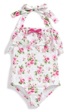 Free shipping and returns on Love U Lots Floral Print One-Piece Swimsuit (Toddler Girls & Little Girls) at Nordstrom.com. Eyelet embroidery and scalloped ruffle trim provide sweet finishing touches for a one-piece halter swimsuit in a vivacious floral print.