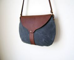 The Taplin Purse in Charcoal Waxed Canvas by ShelterProtectsYou