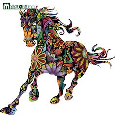 Colorful and radiant, this wild horse wall decal is a great decoration for any bedroom or living space. Purchase this easy to apply horse wall art sticker from My Wonderful Walls. Horse Wall Decals, Unicorn Wall Decal, Horse Wall Art, Wall Stickers Murals, Wall Stickers Home, Horse Mural, Horse Flowers, Running Horses, Colorful Animals