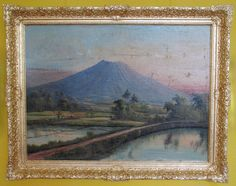 oilpainting, circa 1948 or earlier, Merapi, Java, Indonesia