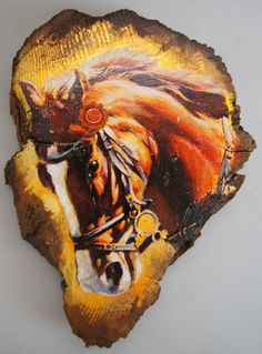 """Horse Face """"Wooded Art"""" Painting on Vintage Gold or Silver Plated Reclaimed Wood (8821-111) by gdebrekhtgallery. Explore more products on http://gdebrekhtgallery.etsy.com"""