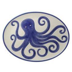 Large Octopus Platter, Ocean Blue Octopus Platter by Grasslands Road Serving Utensils, Serving Platters, Octopus Design, Sea Floor, Tentacle, Decoration, Nautical, Blue And White, Pottery