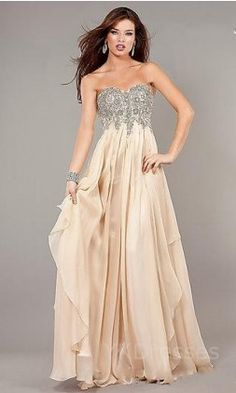 $159.99 - Champagne Sweetheart Long A-Line Empire Evening Dresses YKUK67550 I would and so could pull this of as a wedding dress!