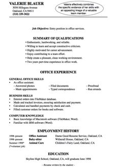example entry level resumes